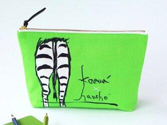 オリジナル!シマウマのお尻ポーチ・kazun'×harche'コラボ(両面黄緑)の画像