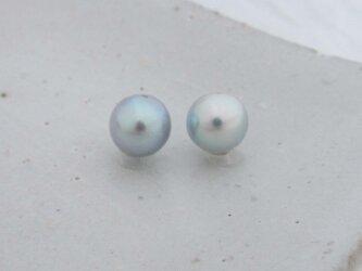 8mm♪ピアスに☆ あこや真珠ナチュラルブルーバロック8mm 両穴ルース2Pセット 08- 62NB2の画像