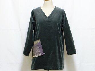 チュニック 草木染手織りポケット付きの画像