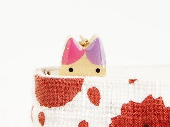 木製ネコしおり  ピンク・紫(ブックマーカー)の画像