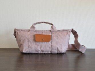 ショルダーバッグ 2way/オールドピンク・パラフィン帆布×牛革の画像
