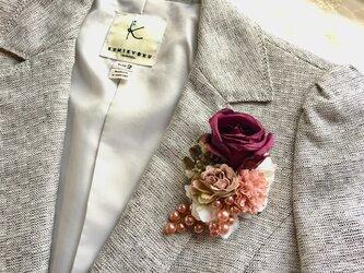 カップ咲きボルドーローズのコサージュ *卒業式*入学式*結婚式の画像