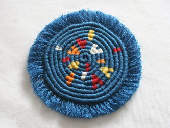 漂白剤が使えるマクラメ編み ハートもあるよ♪コースター(M) 花火のイメージの画像