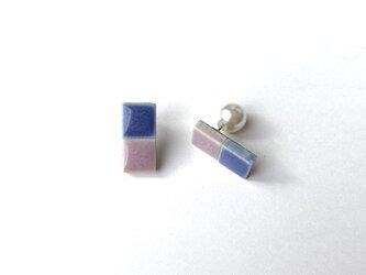 bi-color タイルのピアス(パールキャッチ)の画像