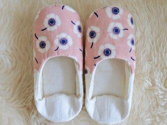 北欧 花柄 フラワー ルームシューズ  バブーシュ スリッポン M-L ピンクの画像