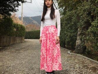 【和柄】梅霞のティアードスカート(ピンク)の画像