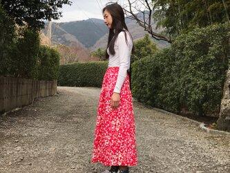 【和柄】梅霞のティアードスカート(レッド)の画像