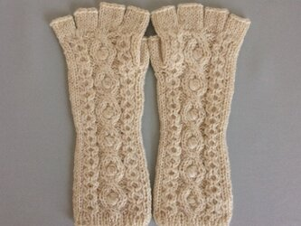 【受注制作】手袋アルパカ×ラムウールオフホワイトベージュ系(M〜L)の画像