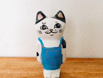 猫マグネット オーバーオールの画像