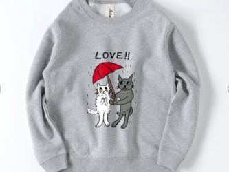 ラブキャット 猫 グレー猫 ブリティッシュ ロシアンブルー チンチラ 白猫 スウェット イラスト トレーナー キッズ ジュニアの画像