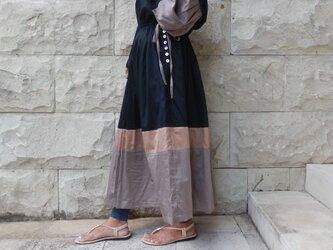 カラーコンビネーションプリーツスカート/グレーの画像