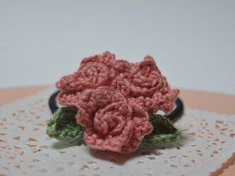 蕾のヘアゴム・濃コーラルピンクの画像