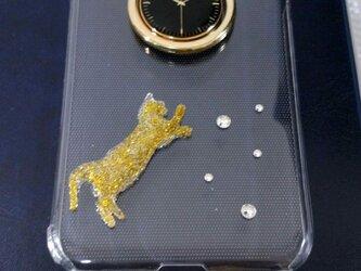 遊び猫さん時計柄リング付きクリアスマホケース(全機種対応)の画像