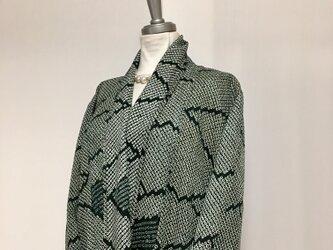 軽い総絞りのロングカーディガン⑤ LL 着物リメイクの画像