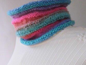 手編み・ネックウオーマー・虹色を探しての画像