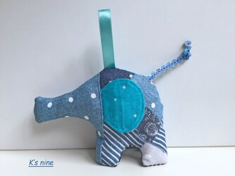 ガーゼのにぎにぎガラガラおもちゃ・ぞうさん ブルー系Bの画像
