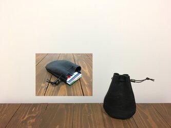 上質牛革 mini巾着◆黒 カード入れの画像