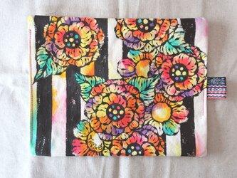 帆布 手描きのおやつマット(花柄×ストライプ) 01の画像