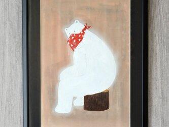 切り株に座るクマ 額装済み絵画 B4サイズ原画 インテリアの画像