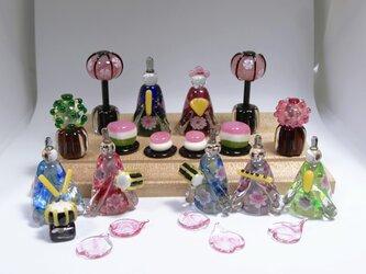 とんぼ玉雛人形・ガラスのおひなさま五人囃子セットの画像