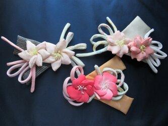⁂髪飾り⁂桜・水仙・椿 布花ヘアーアクセサリー アレンジ自在の画像