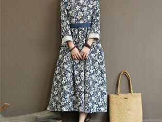 花柄ワンピース コットン M~Lサイズ 紺色の画像