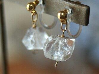 【痛くない】天然石ハーキマーダイアモンド ノンホールピアスの画像
