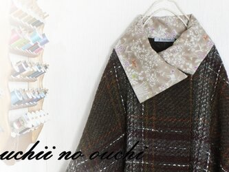 【受注生産】LIBERTYリバティ 国産エアリーコット<Yoshie>&ウール100 大き目カラーポンチョ♡の画像
