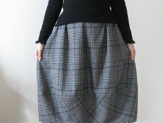 ウールグレンチェックバルーンスカート~裏地付き~の画像