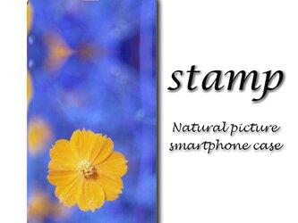 stamp【手帳型スマホケース(帯なし)】〇送料無料〇花/かわいい/青/春の画像