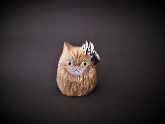ネコ(小) 長毛チャトラ リングホルダーにも♪ 木彫りの画像