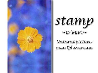 stamp c ver.【手帳型スマホケース(帯なし)】〇送料無料〇花/かわいい/青/春の画像