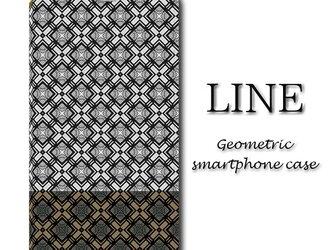 LINE【手帳型スマホケース(帯なし)】〇送料無料〇幾何学模様/大人/シック/高級感の画像