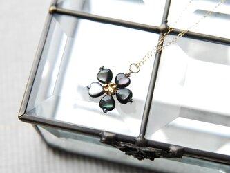 ブラックシェルのお花のネックレス 14kgfの画像