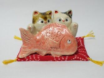 ペア猫招き猫の画像