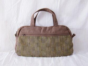 ☆セール☆ 裂き織りボストン型ハンドバッグ(茶×くすんだ緑)の画像