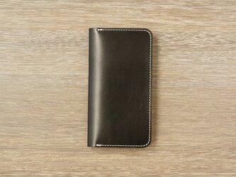牛革 iPhone XS Max カバー  ヌメ革  レザーケース  手帳型  ブラックカラーの画像