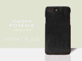 リザード iPhone 7/8plus 用 ケース【ブラック】・MAiSON POMME・リングマークトカゲ使用の画像