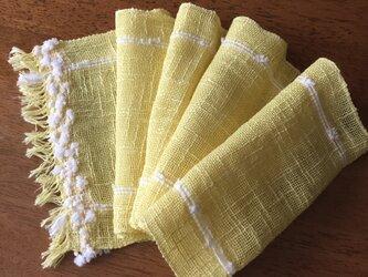 レモンイエローの手織りストールの画像
