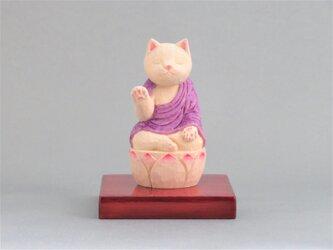 木彫り 袈裟を着た阿弥陀猫 猫仏1907の画像