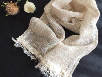 生成のリネンコットン手織りストール(A)の画像