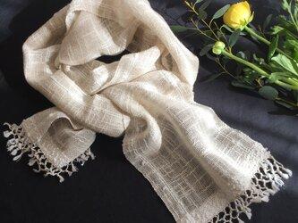 生成のリネンコットン手織りストール(B)の画像