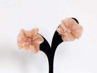 桜染め&天然石ローズクォーツのイヤリング の画像
