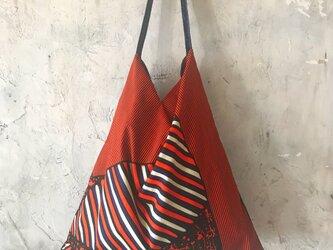 african fabric/velour bag (navy)の画像