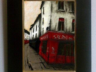 風景画 パリ 油絵 カフェ「街角のワイン屋」の画像