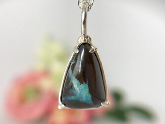 1点もの!天然アイアンオパールシルバーロングネックレス6.26ct☆ オーストラリア・ヤワー産の原石から磨きましたの画像