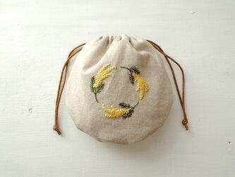 まあるい刺繍巾着 / ミモザ【受注製作】の画像