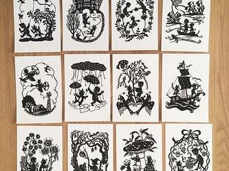 切り絵ポストカードセット◯ろくとくろの選べる3枚組の画像