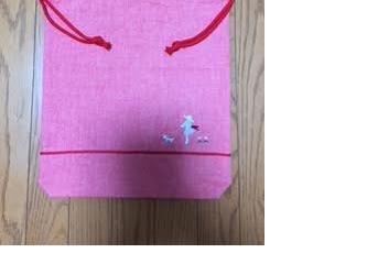 取っ手付き巾着・二本紐★刺繍:女の子と犬/*入園入学・通園通学*/の画像