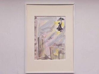 水彩と墨のコラボ画 メリーポピンズへのオマージュ 4の画像